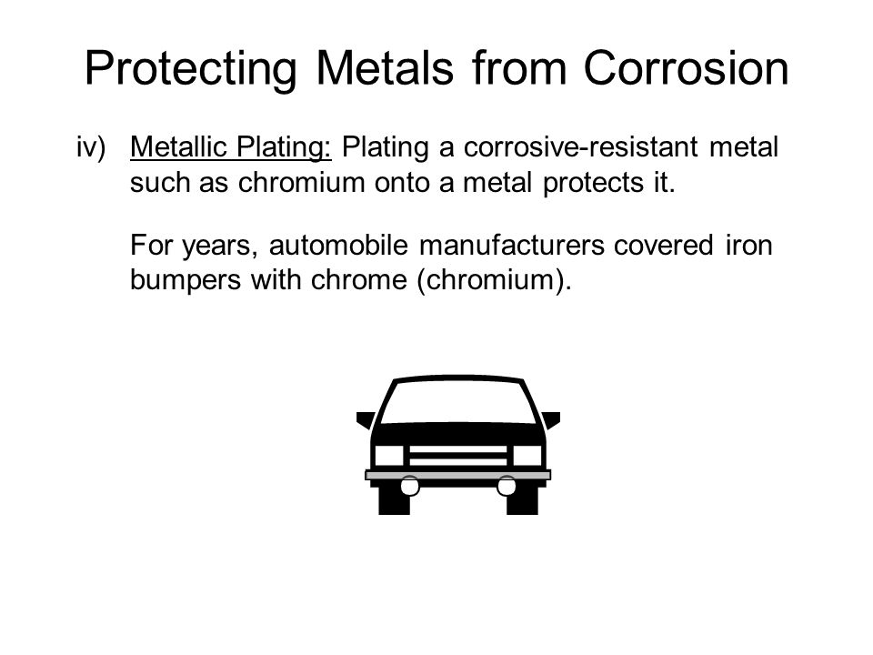 iv)Metallic Plating: Plating a corrosive-resistant metal such as chromium onto a metal protects it.