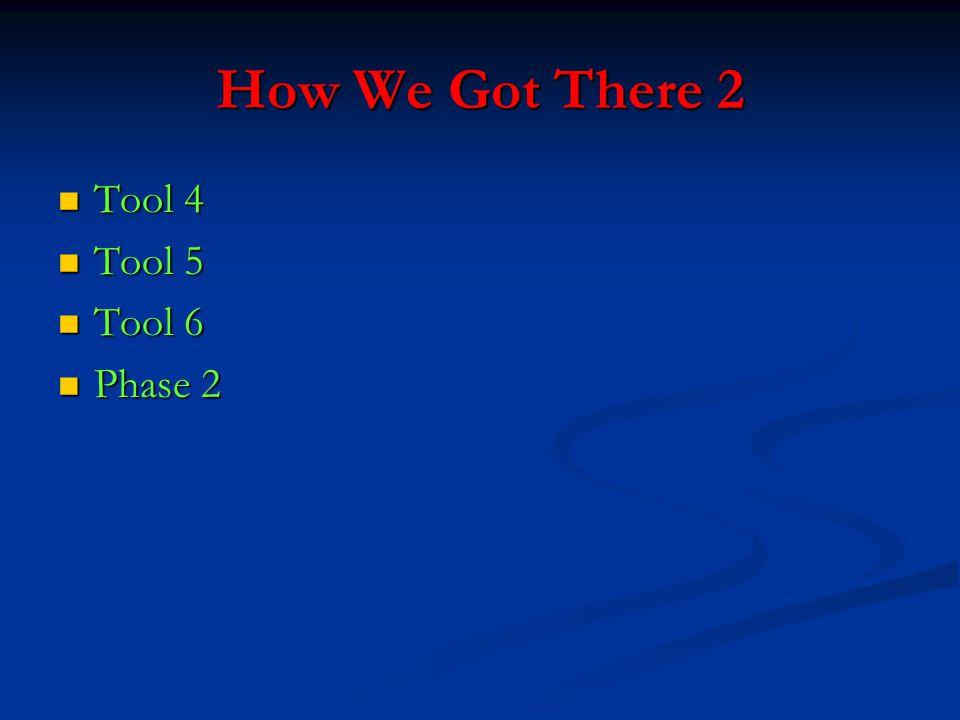 How We Got There 2 Tool 4 Tool 4 Tool 5 Tool 5 Tool 6 Tool 6 Phase 2 Phase 2