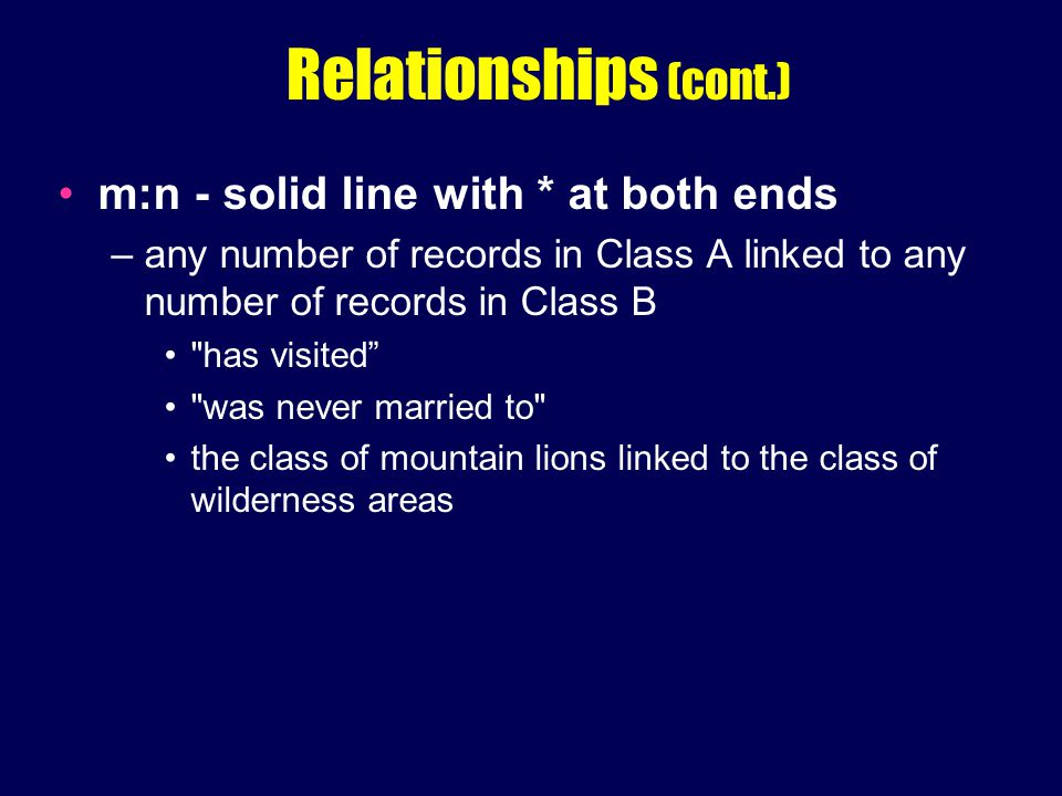 Relationships (cont.) m:n - solid line with * at both ends –any number of records in Class A linked to any number of records in Class B has visited was never married to the class of mountain lions linked to the class of wilderness areas