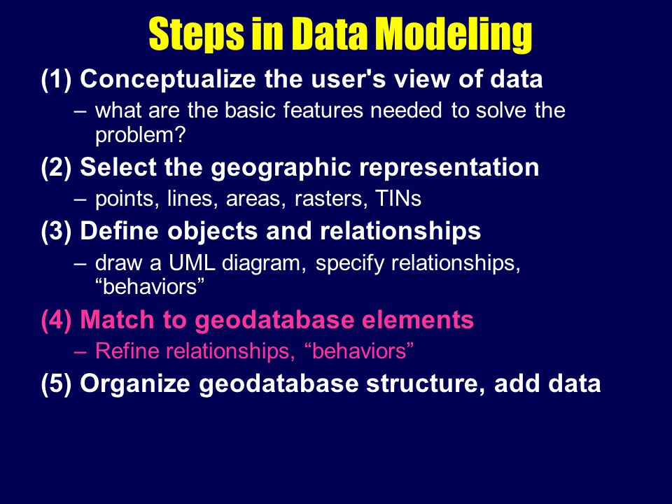 Steps in Data Modeling (1) Conceptualize the user s view of data –what are the basic features needed to solve the problem.