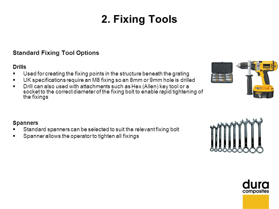 2. Fixing Tools Standard Fixing Tool Options Drills  Used for creating the fixing points in the structure beneath the grating  UK specifications req