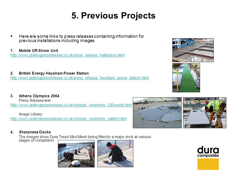 5. Previous Projects  Here are some links to press releases containing information for previous installations including images 1. Mobile Off-Shore Un