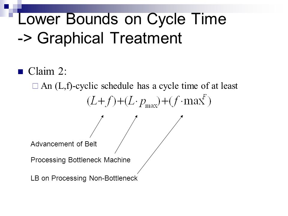 Lower Bounds on Cycle Time -> Graphical Treatment Claim 2:  An (L,f)-cyclic schedule has a cycle time of at least Advancement of Belt Processing Bottleneck Machine LB on Processing Non-Bottleneck