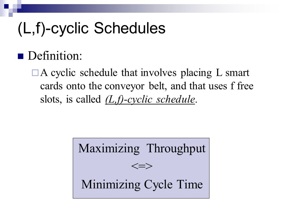 (L,f)-cyclic Schedules Definition:  A cyclic schedule that involves placing L smart cards onto the conveyor belt, and that uses f free slots, is called (L,f)-cyclic schedule.