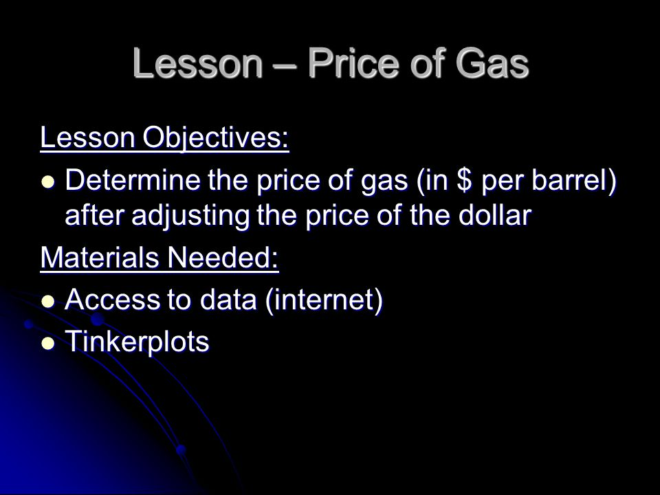 Lesson – Price of Gas Lesson Objectives: Determine the price of gas (in $ per barrel) after adjusting the price of the dollar Determine the price of gas (in $ per barrel) after adjusting the price of the dollar Materials Needed: Access to data (internet) Access to data (internet) Tinkerplots Tinkerplots