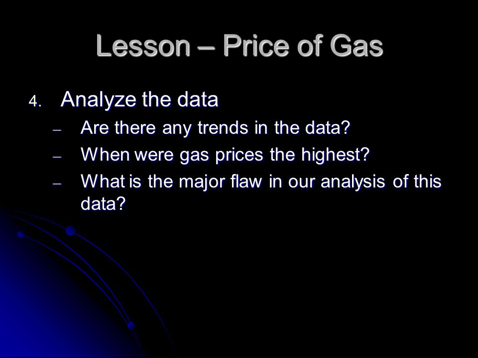 Lesson – Price of Gas 4. Analyze the data ─ Are there any trends in the data.