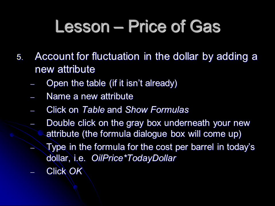 Lesson – Price of Gas 5.