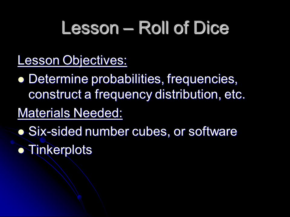 Lesson – Roll of Dice 1.