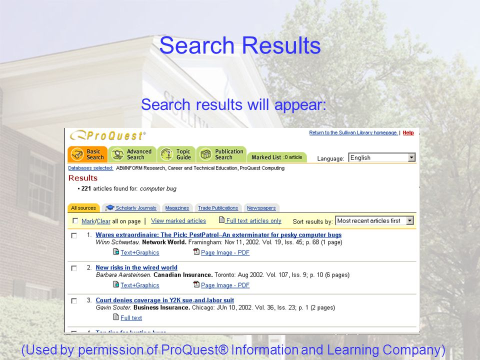 Performing a Search in Basic After you have entered your search words and made your choices, click Search.