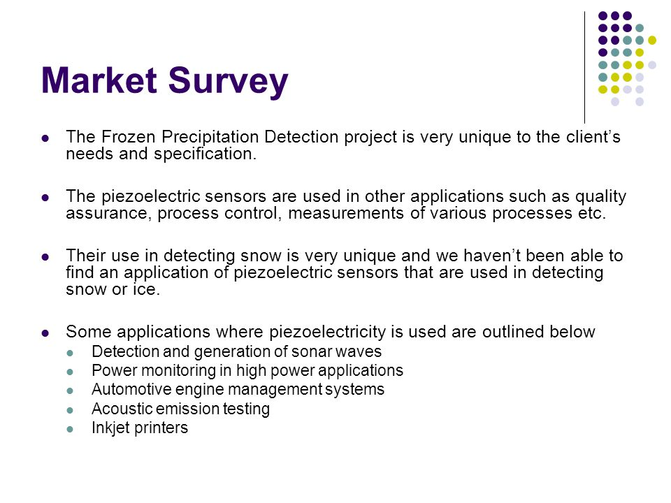 Market Survey The Frozen Precipitation Detection project is very unique to the client's needs and specification.