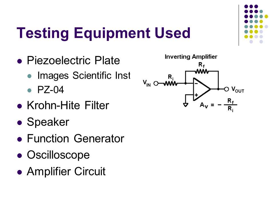 Testing Equipment Used Piezoelectric Plate Images Scientific Instruments PZ-04 Krohn-Hite Filter Speaker Function Generator Oscilloscope Amplifier Cir