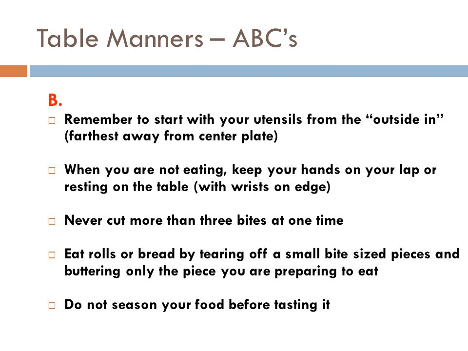 Table Manners – ABC's B.
