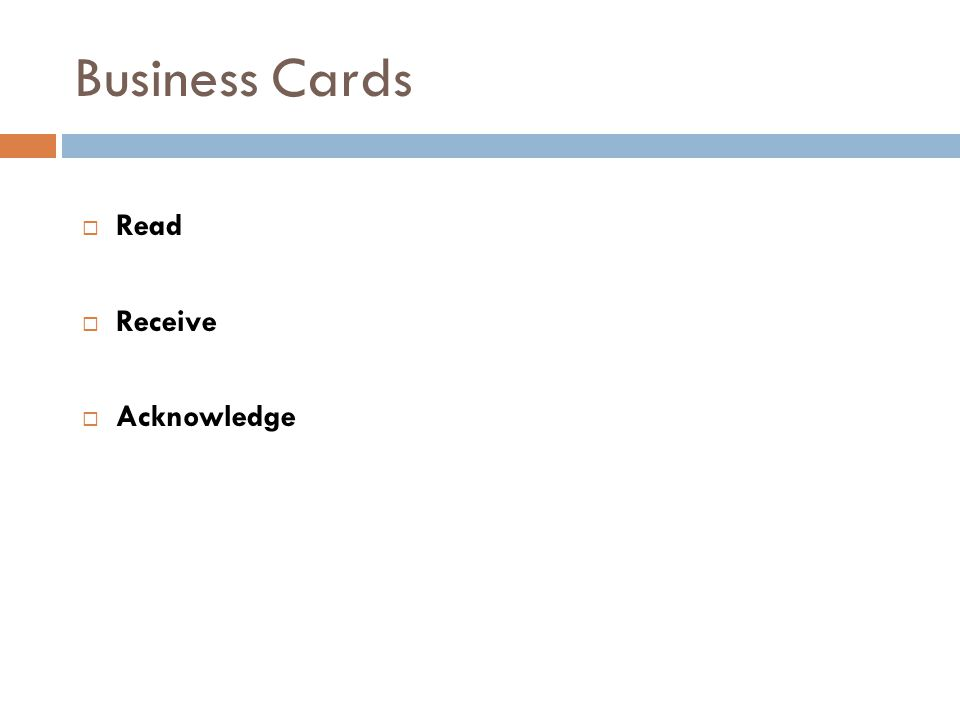 Business Cards  Read  Receive  Acknowledge