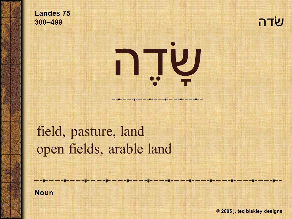 © 2005 j. ted blakley designs שָׂדֶה field, pasture, land open fields, arable land Landes 75 300–499 Noun שׂדה