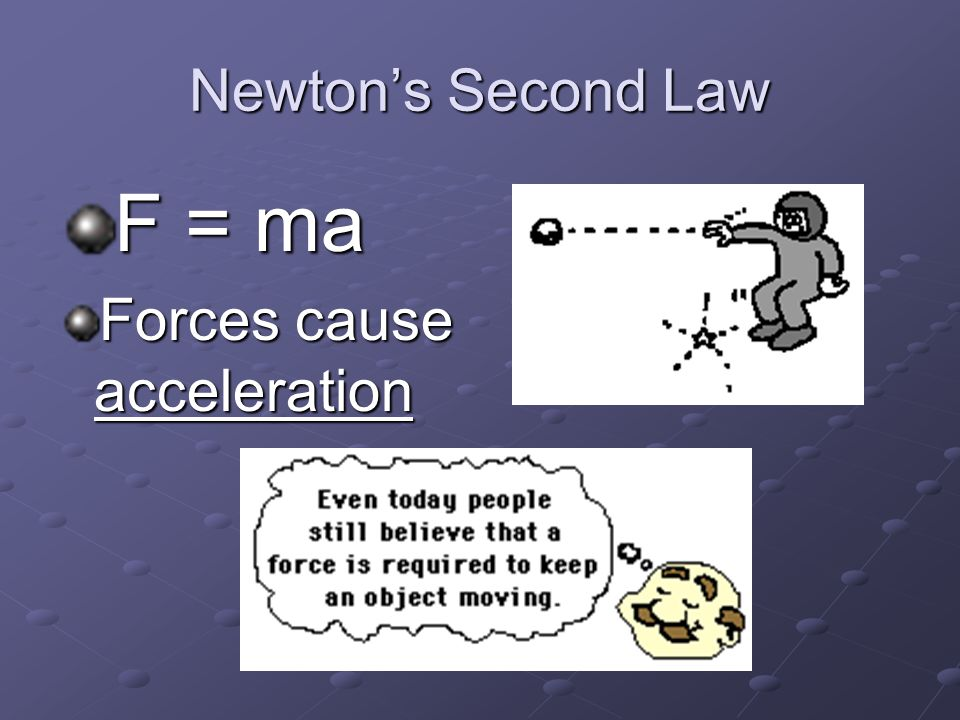 Newton's Second Law F = ma Forces cause acceleration