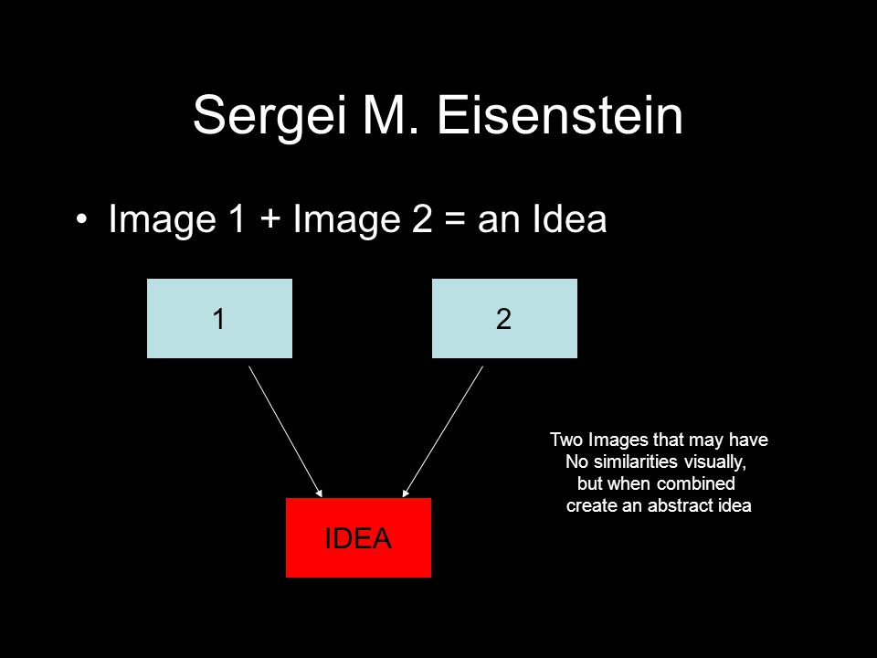 Sergei M. Eisenstein Image 1 + Image 2 = an Idea 12 IDEA Two Images that may have No similarities visually, but when combined create an abstract idea