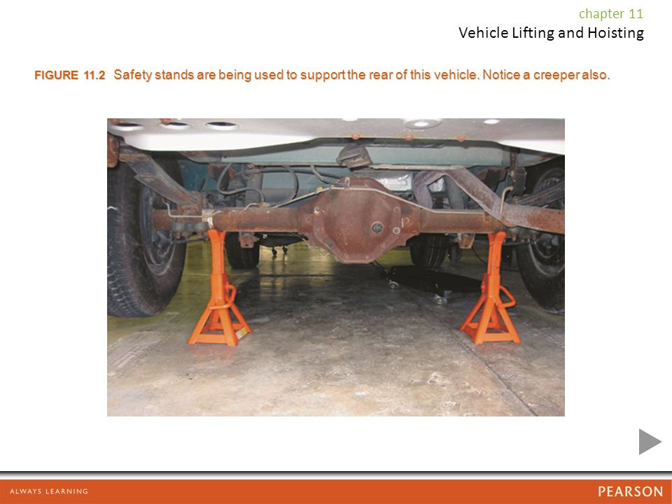 chapter 11 Vehicle Lifting and Hoisting FIGURE 11.2 Safety stands are being used to support the rear of this vehicle.
