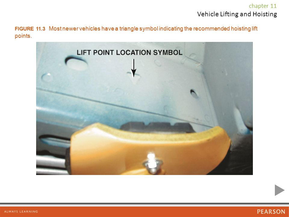 chapter 11 Vehicle Lifting and Hoisting FIGURE 11.3 Most newer vehicles have a triangle symbol indicating the recommended hoisting lift points.