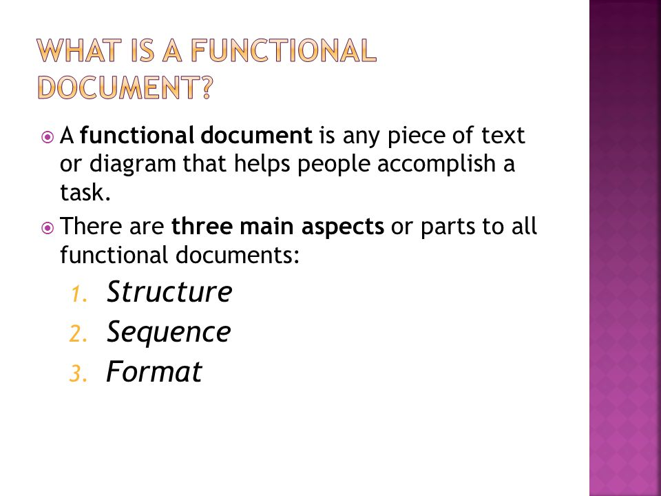  A functional document is any piece of text or diagram that helps people accomplish a task.  There are three main aspects or parts to all functional