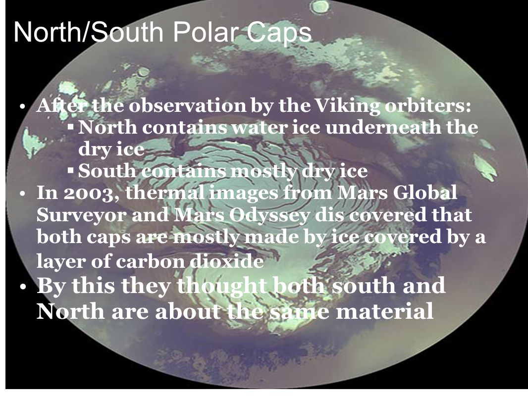 North/South Polar Caps After the observation by the Viking orbiters:  North contains water ice underneath the dry ice  South contains mostly dry ice In 2003, thermal images from Mars Global Surveyor and Mars Odyssey dis covered that both caps are mostly made by ice covered by a layer of carbon dioxide By this they thought both south and North are about the same material