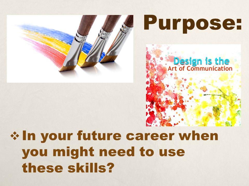 Purpose:  In your future career when you might need to use these skills