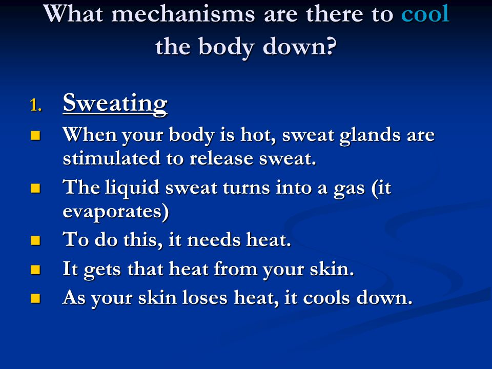 What mechanisms are there to cool the body down. 1.
