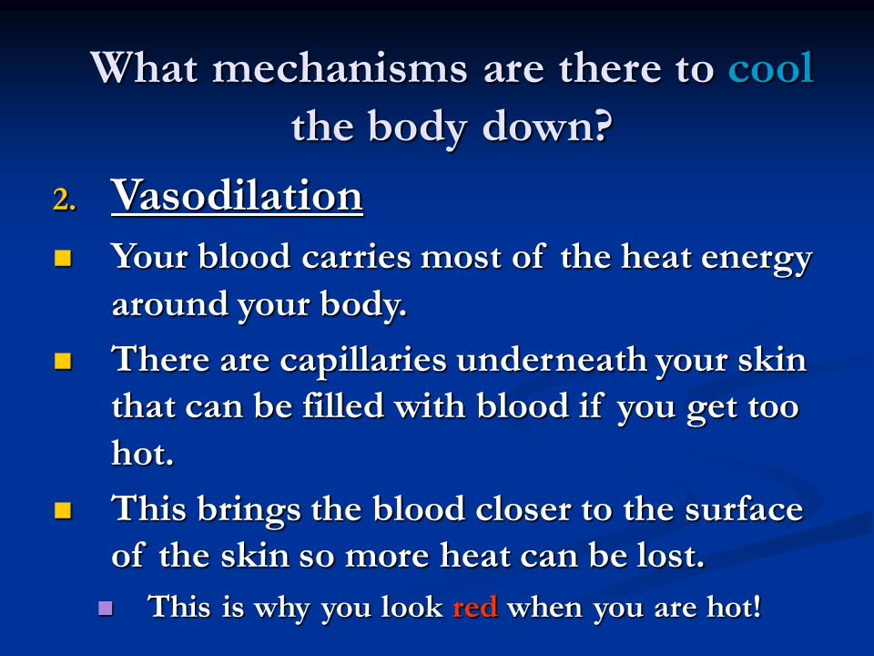 What mechanisms are there to cool the body down. 2.