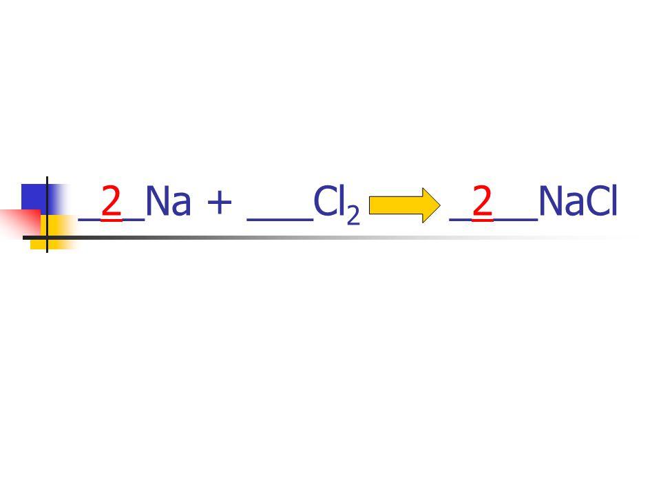 ___Na + ___Cl 2 ____NaCl