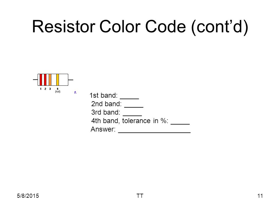 5/8/2015TT11 Resistor Color Code (cont'd) 1st band: _____ 2nd band: _____ 3rd band: _____ 4th band, tolerance in %: _____ Answer: ___________________