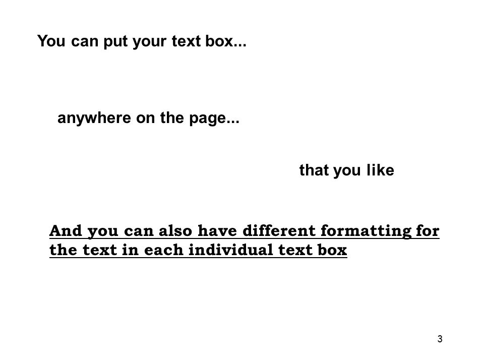 3 You can put your text box...anywhere on the page...