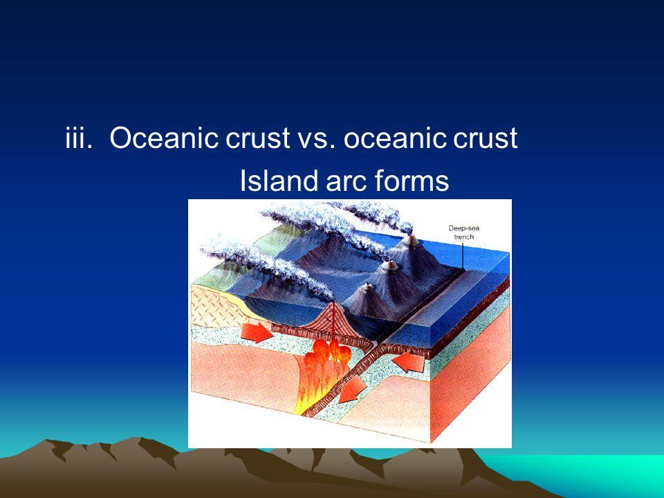 iii. Oceanic crust vs. oceanic crust Island arc forms
