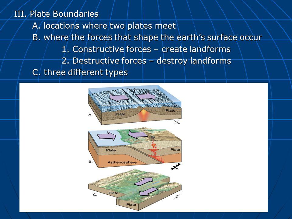 III. Plate Boundaries A. locations where two plates meet B.