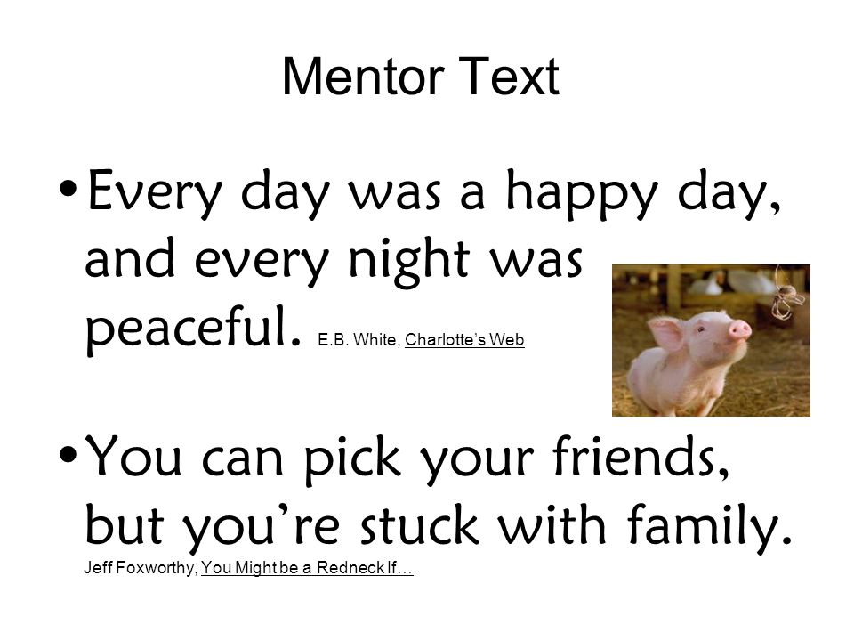 Mentor Text Every day was a happy day, and every night was peaceful.