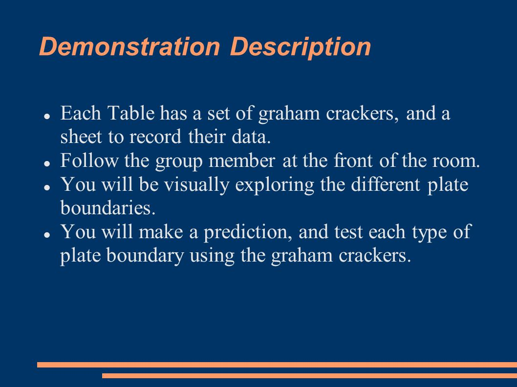 Demonstration Description Each Table has a set of graham crackers, and a sheet to record their data.