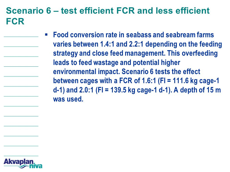 Scenario 6 – test efficient FCR and less efficient FCR  Food conversion rate in seabass and seabream farms varies between 1.4:1 and 2.2:1 depending on the feeding strategy and close feed management.