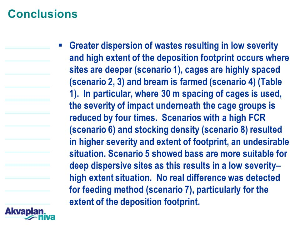 Conclusions  Greater dispersion of wastes resulting in low severity and high extent of the deposition footprint occurs where sites are deeper (scenario 1), cages are highly spaced (scenario 2, 3) and bream is farmed (scenario 4) (Table 1).