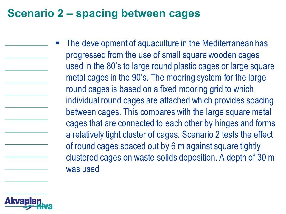 Scenario 2 – spacing between cages  The development of aquaculture in the Mediterranean has progressed from the use of small square wooden cages used in the 80's to large round plastic cages or large square metal cages in the 90's.