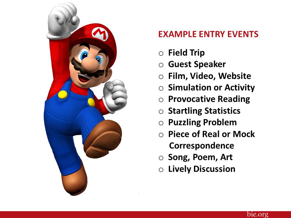 EXAMPLE ENTRY EVENTS o Field Trip o Guest Speaker o Film, Video, Website o Simulation or Activity o Provocative Reading o Startling Statistics o Puzzling Problem o Piece of Real or Mock Correspondence o Song, Poem, Art o Lively Discussion