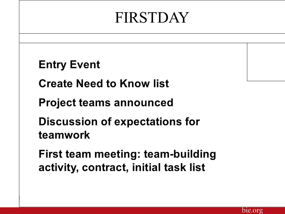 Entry Event Create Need to Know list Project teams announced Discussion of expectations for teamwork First team meeting: team-building activity, contract, initial task list FIRSTDAY