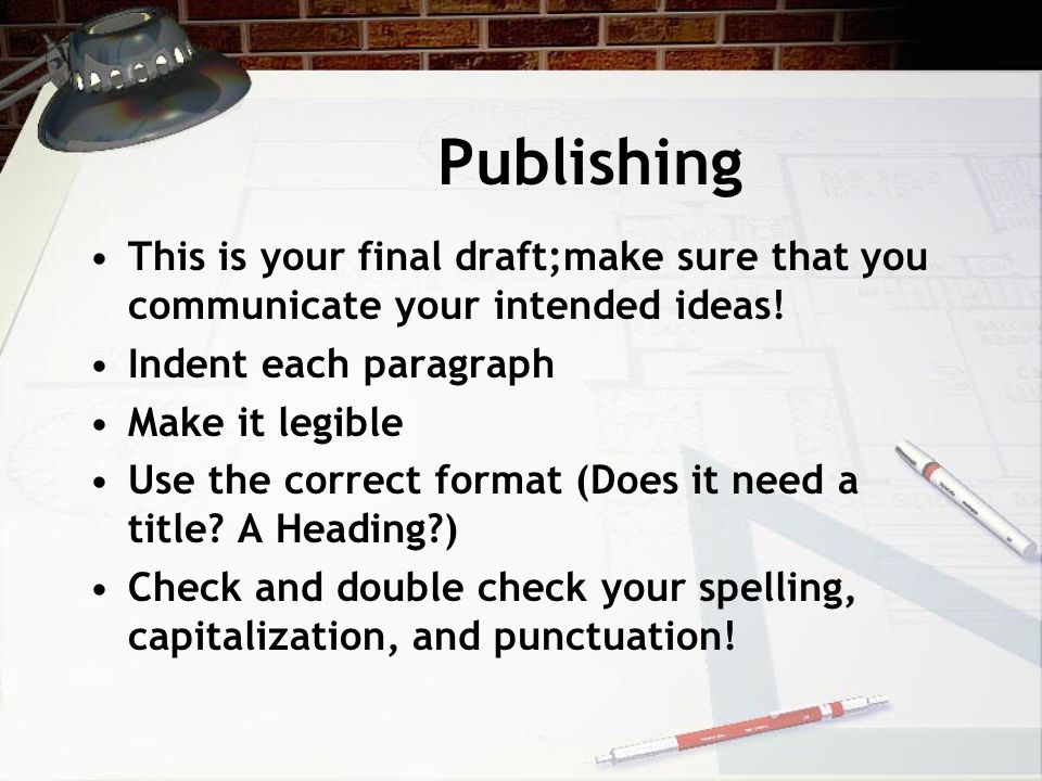 Publishing This is your final draft;make sure that you communicate your intended ideas.