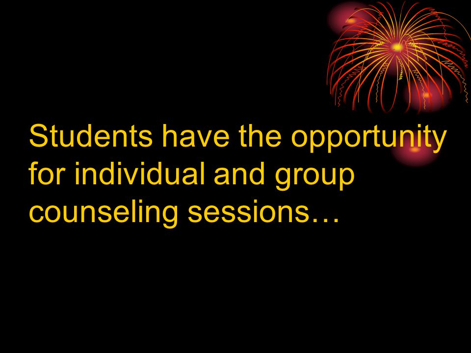 Students have the opportunity for individual and group counseling sessions…