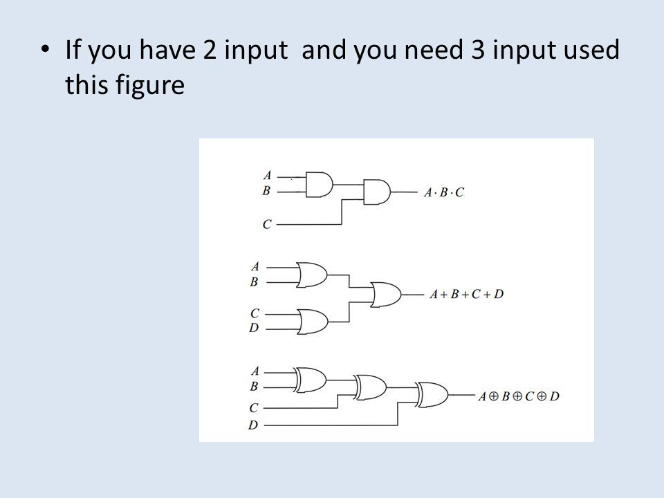If you have 2 input and you need 3 input used this figure
