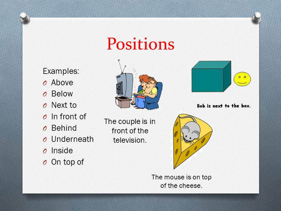 Positions Examples: O Above O Below O Next to O In front of O Behind O Underneath O Inside O On top of The mouse is on top of the cheese.