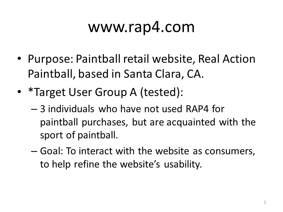 www.rap4.com Purpose: Paintball retail website, Real Action Paintball, based in Santa Clara, CA.