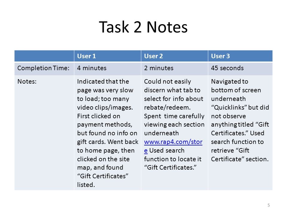 Task 3 Notes User 1User 2User 3 Completion Time:4 ½ minutes3 minutes30 seconds Notes:First went back to the site map, and looked underneath Spyder Accessories but did not find the MR3 marker for sale – only parts for the marker.