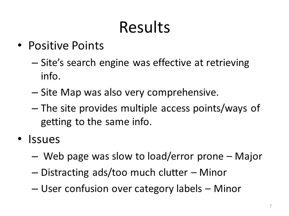 Results Positive Points – Site's search engine was effective at retrieving info.