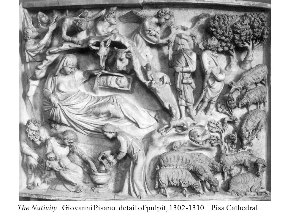The Nativity Giovanni Pisano detail of pulpit, 1302-1310 Pisa Cathedral