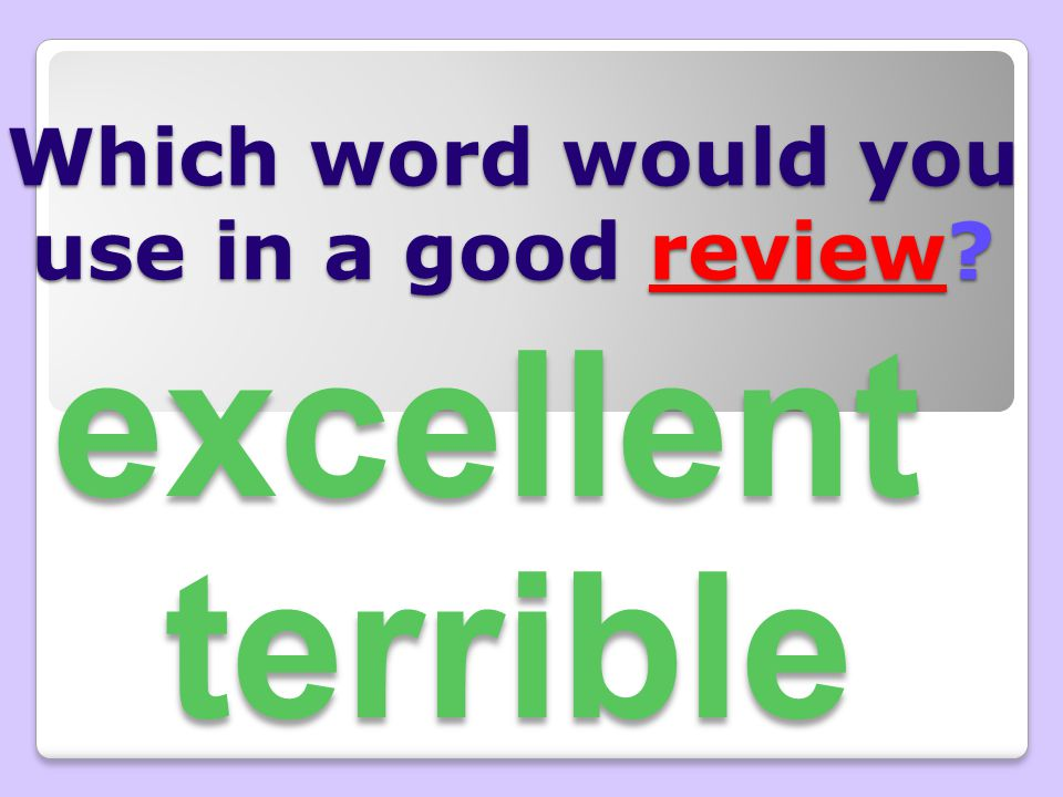 Which word would you use in a good review? excellent terrible
