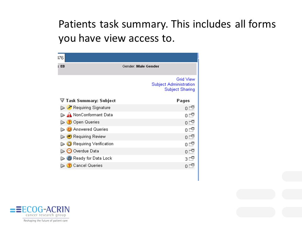 Patients task summary. This includes all forms you have view access to.