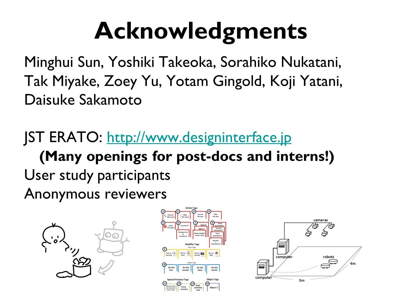 Acknowledgments Minghui Sun, Yoshiki Takeoka, Sorahiko Nukatani, Tak Miyake, Zoey Yu, Yotam Gingold, Koji Yatani, Daisuke Sakamoto JST ERATO: http://www.designinterface.jphttp://www.designinterface.jp (Many openings for post-docs and interns!) User study participants Anonymous reviewers